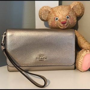 Coach Gold Wristlet/Wallet/Clutch